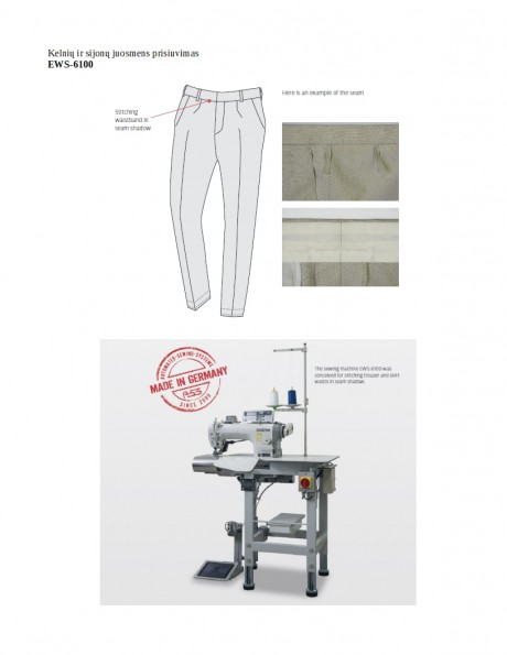 Kelnių ir sijonų juosmens prisiuvimas EWS-6100