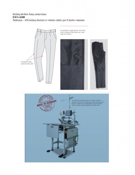 Kelnių klešnės šonų susiuvimas  EWS-6300