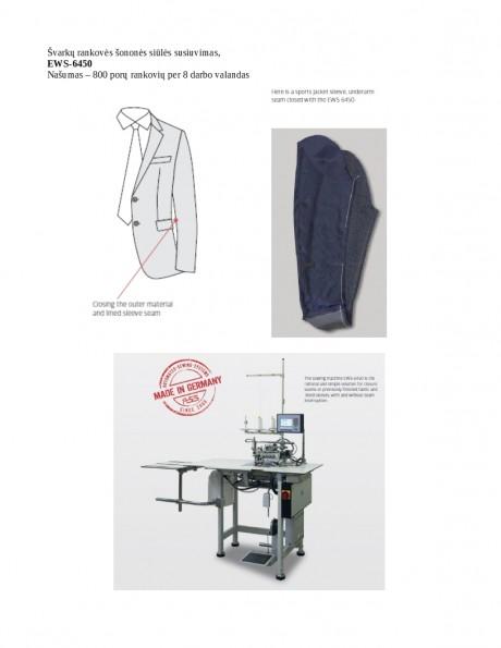 Švarkų rankovės šononės siūlės susiuvimas EWS-6450