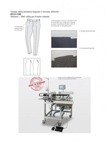 Trumpų siūlių automatas lengtoms ir tiesioms kišenėms  BASS-5100