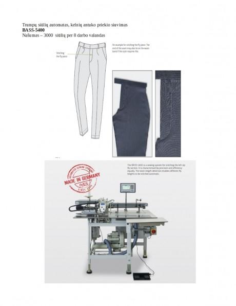 Trumpų siūlių automatas, kelnių antuko priekio siuvimas BASS-5400