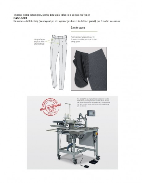 Trumpų siūlių automatas, kelnių priekinių kišenių ir antuko siuvimas BASS-5700