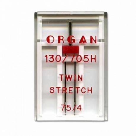 Dvigubos adatos TWIN STRETCH trikotažui 75, 4 mm tarpelis
