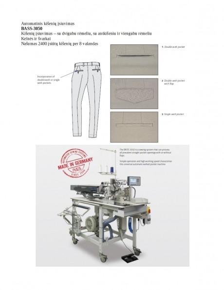 Automatinis kišenių įsiuvimas BASS-3050