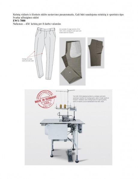 Kelnių vidinės ir išorinės siūlės susiuvimo pusautomatis EWS-7000