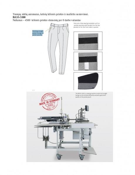 Trumpų siūlių automatas, kelnių kišenės priekio ir maišelio susiuvimui BASS-5300