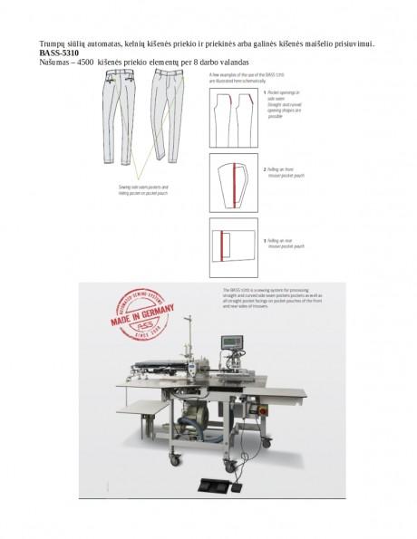 Trumpų siūlių automatas, kelnių kišenės priekio prisiuvimui BASS-5310