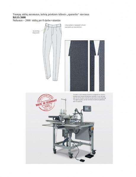 """Trumpų siūlių automatas, kelnių priekinės kišenės """"sparnelio"""" siuvimas BASS-5600"""