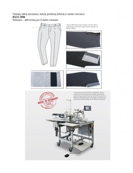 Trumpų siūlių automatas, kelnių priekinių kišenių ir antuko siuvimas BASS-5800