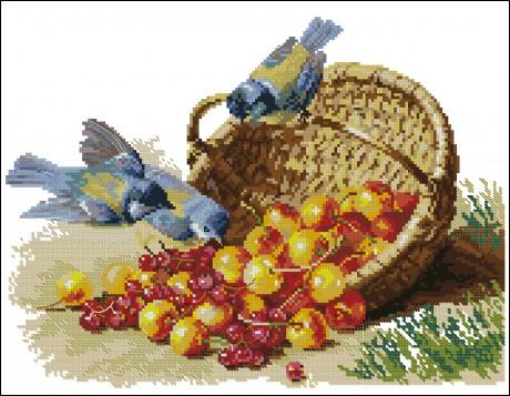 """Alisa siuvinėjimo rinkinys """"Chickadees and Sweet Cherries"""""""