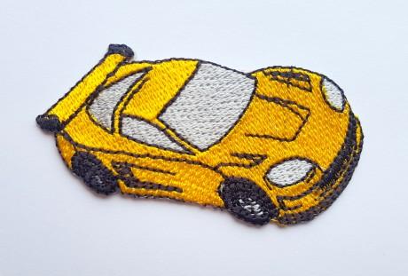 Siuvinėta klijuojama aplikacija geltona auto