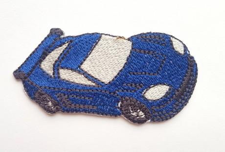 Siuvinėta klijuojama aplikacija mėlyna auto