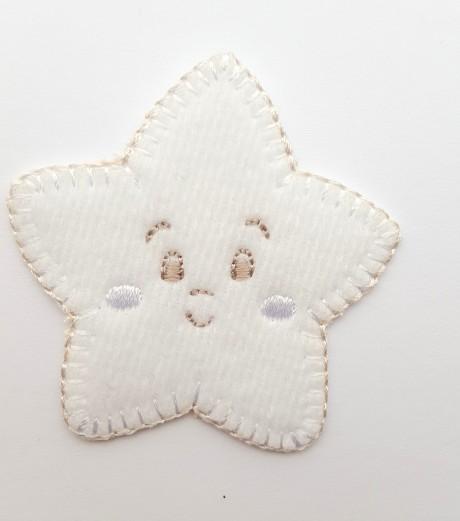 Tekstilinė termo aplikacija 269/857 žvaigždė balta