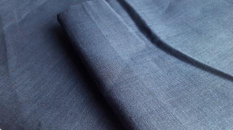 Lino audinys 05c212, t. mėlyna, atraiža 155 cm