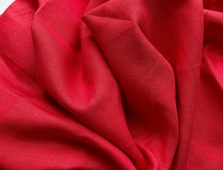 Lino audinys drabužiams, namų tekstilei atraiža 117 cm, oranžinė 4c33