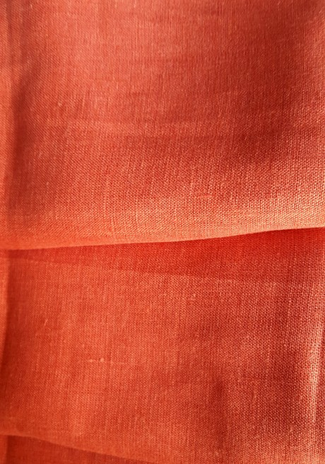 Lino audinys drabužiams, namų tekstilei atraiža 122 cm, oranžinė 4c33