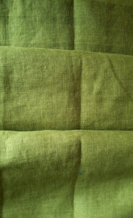 Lino audinys drabužiams, namų tekstilei, atraiža 124 cm, žalia 4c33
