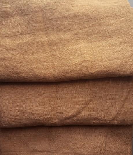 Lino audinys drabužiams, namų tekstilei, atraiža 131 cm, šviesiai ruda 4c33