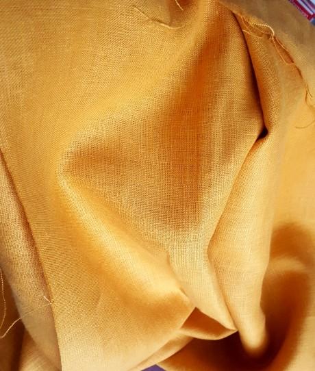 Lino audinys drabužiams, namų tekstilei, atraiža 128 cm, geltona 4c33