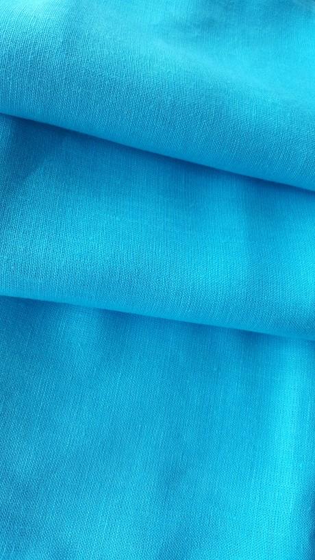 Lino audinys drabužiams, namų tekstilei, atraiža 120 cm, žydra 4c33