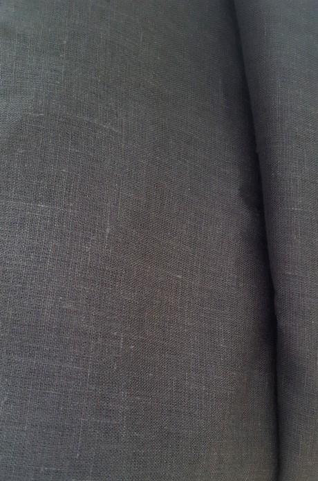 Lino audinys drabužiams, namų tekstilei, atraiža 150 cm, tamsiai pilka 4c33