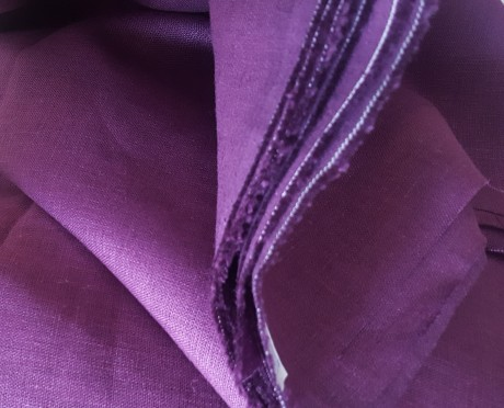 Lino audinys drabužiams, namų tekstilei, atraiža 186 cm, violetinė 4c33