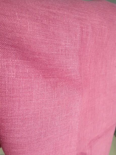 Lino audinys drabužiams, namų tekstilei, atraiža 135 cm, tamsiai rožinė  4c33