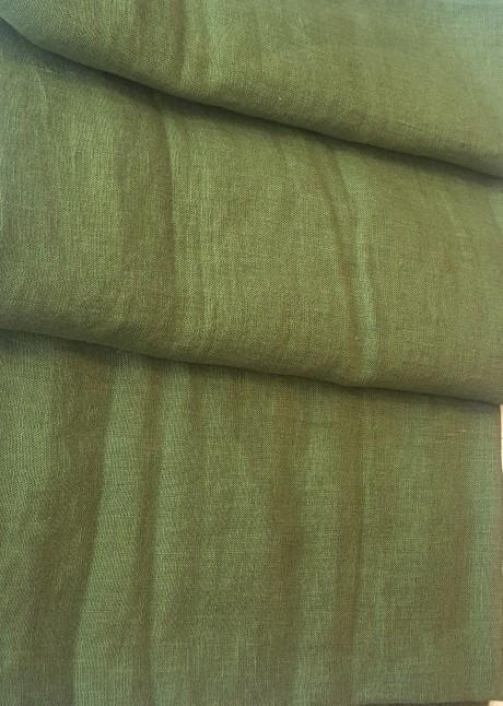 Lino audinys drabužiams, namų tekstilei, atraiža 176 cm, žalia 4c33