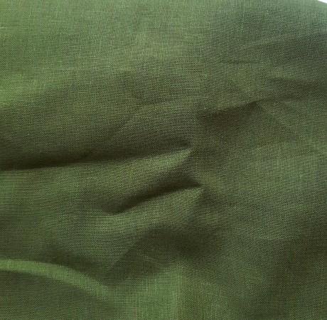 Lino audinys drabužiams, namų tekstilei, atraiža 170 cm, samanų žalia 08c341