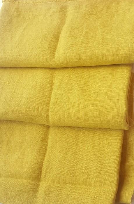 Lino audinys drabužiams, namų tekstilei, atraiža 104 cm, geltona 4c33