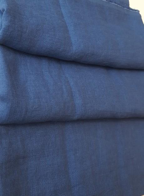 Lino audinys drabužiams, namų tekstilei, atraiža 135 cm, mėlyna 4c33