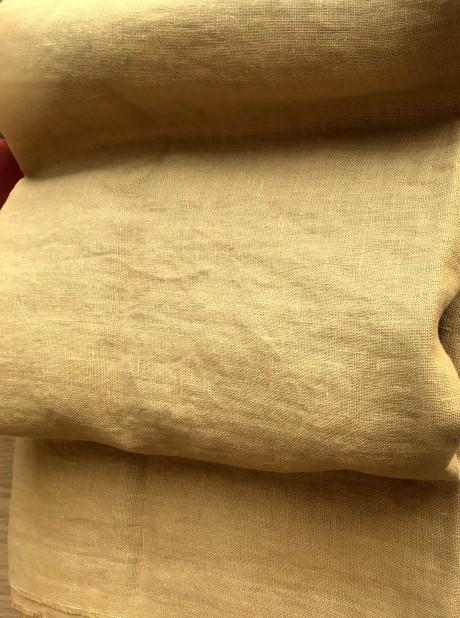 Lino audinys drabužiams, namų tekstilei, atraiža 113 cm, garstyčių 4c33