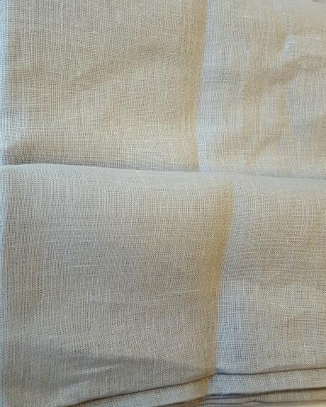 Lino audinys drabužiams, namų tekstilei, atraiža 214 cm, šviesiai pilka 4c33