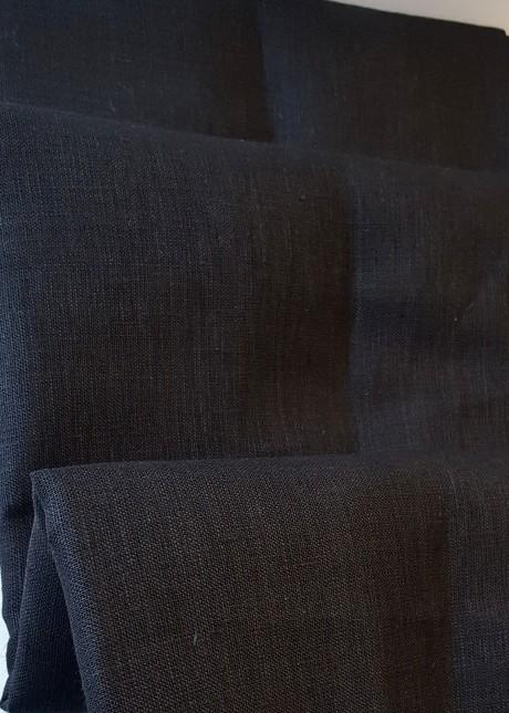 Lino audinys drabužiams, namų tekstilei, atraiža 145 cm, juoda 4c33
