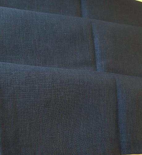 Lino audinys 05c212, tamsiai mėlyna, atraiža 141 cm