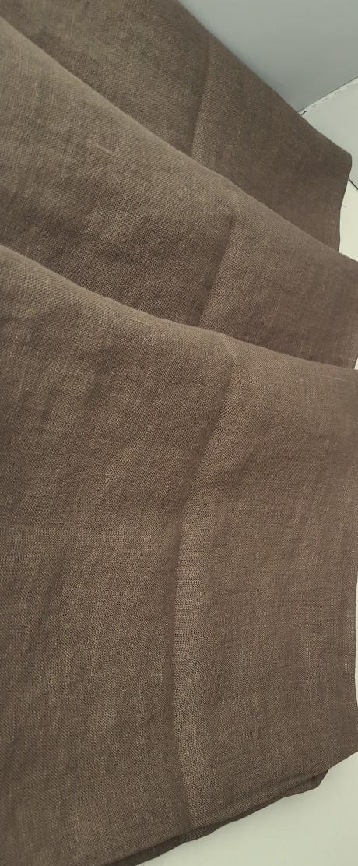 Lino audinys drabužiams, namų tekstilei, atraiža 144 cm,  rudas 4c33
