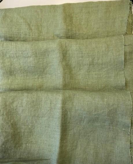 Lino audinys drabužiams, namų tekstilei, atraiža 140 cm, blankiai chaki 4c33