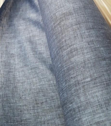 Dekoratyvinis lino audinys namų tekstilei 03с68, mėlynas