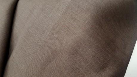 Lino audinys drabužiams, namų tekstilei, atraiža 113 cm, tamsiai rudas 4c33