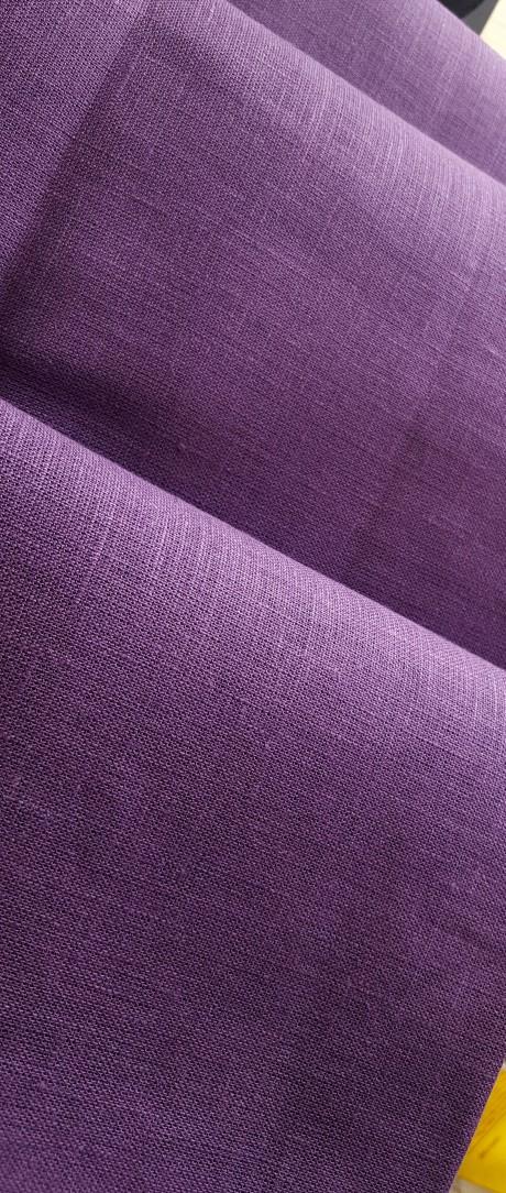 Lino audinys drabužiams, namų tekstilei, atraiža 192 cm, violetinė 4c33