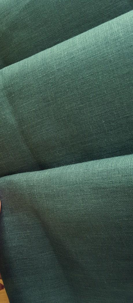 Lino audinys drabužiams, namų tekstilei, atraiža 179 cm, žalia 4c33