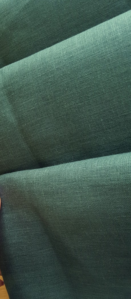 Lino audinys drabužiams, namų tekstilei, atraiža 142 cm, žalia 4c33