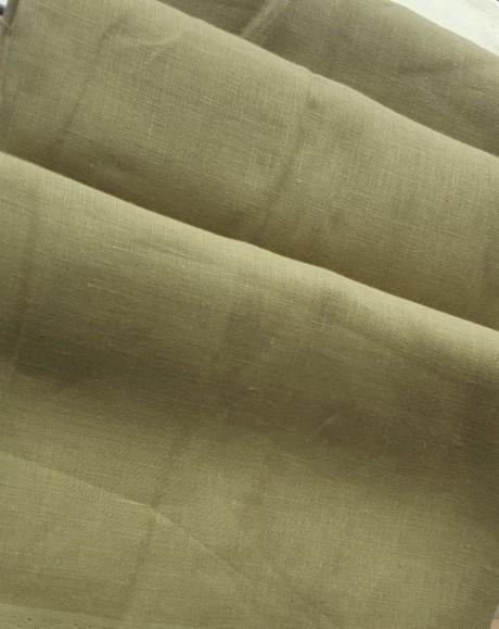 Lino audinys drabužiams, namų tekstilei, atraiža 170 cm, sp. alyvuogių 4c33
