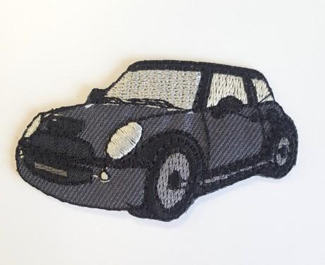 Siuvinėta klijuojama aplikacija pilka auto 2