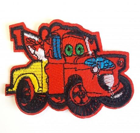 Siuvinėta klijuojama aplikacija auto, raudonas