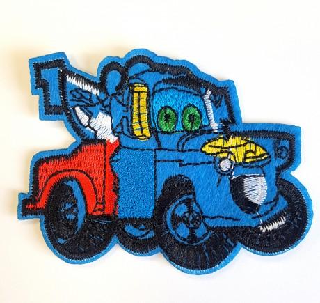 Siuvinėta klijuojama aplikacija auto, mėlynas