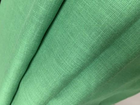Lino audinys drabužiams, namų tekstilei atraiža 199 cm, ryškiai žalia 4c33