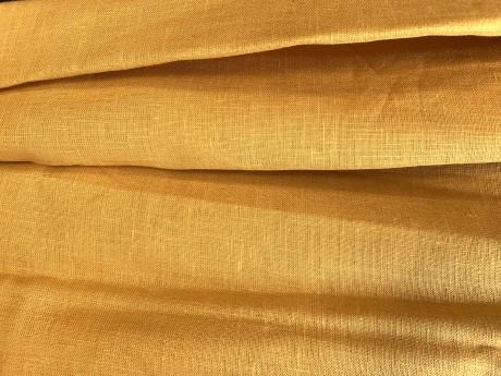 Lino audinys 05c212, geltona, atraiža 132 cm