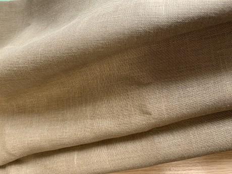 Lino audinys drabužiams, namų tekstilei atraiža 120 cm, ochra 4c33