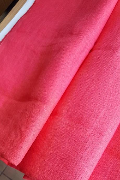 Lino audinys drabužiams, namų tekstilei, atraiža 163 cm, ryškiai rožinė 4c33